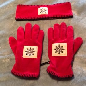 Other - Red fleece gloves and headband